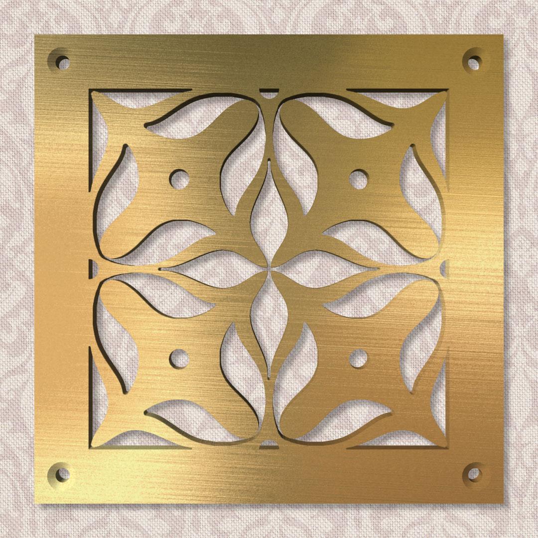 Вентиляционная решётка 100×100 мм «Крестоцвет большой» («Cross Flower Big»)