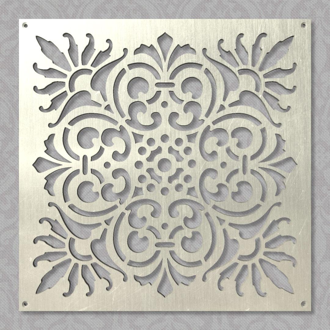 Вентиляционная решётка 300×300 мм «Перисто-цветочная 01» («Pinnate Floral 01»)
