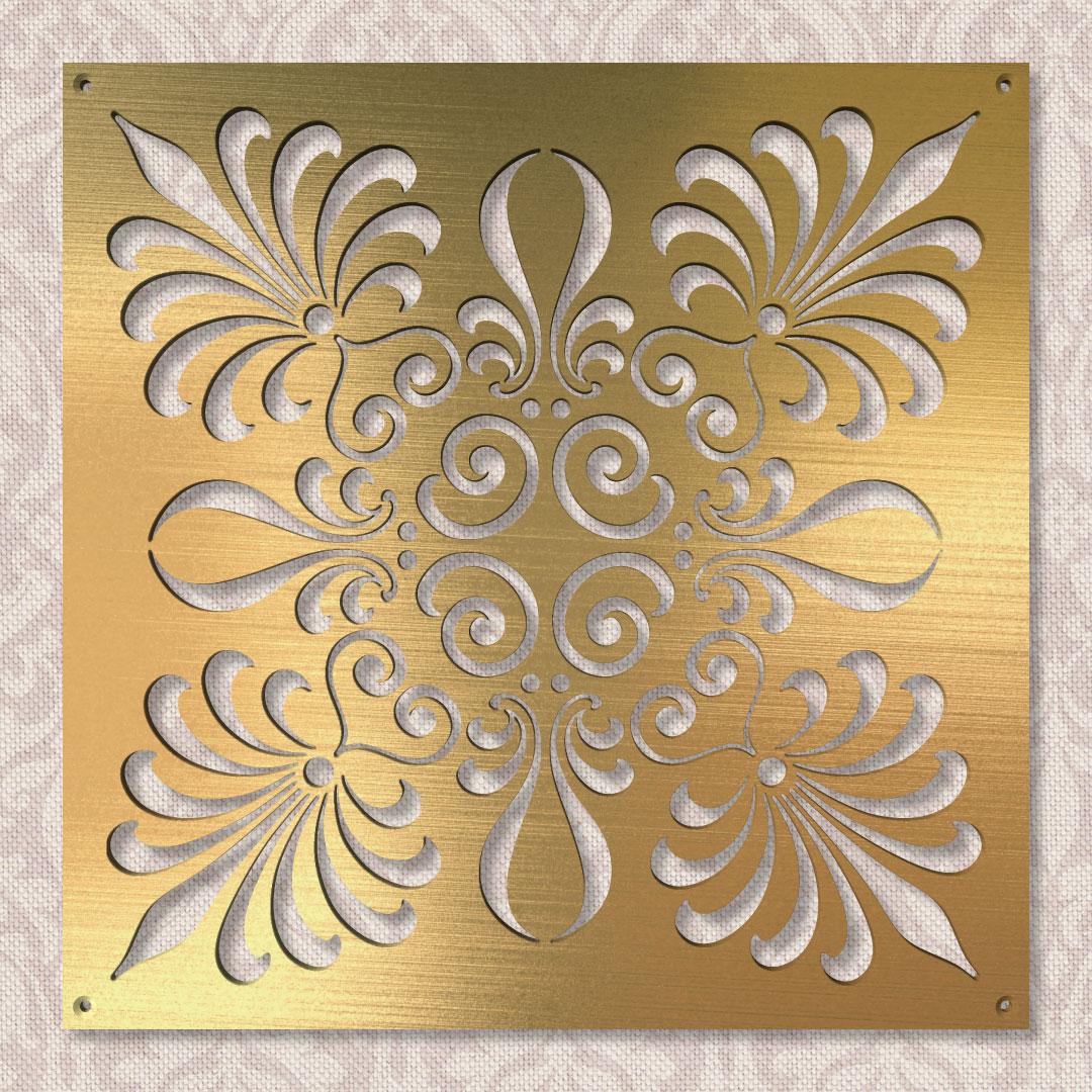 Вентиляционная решётка 300×300 мм «Перисто-цветочная 02» («Pinnate Floral 02»)